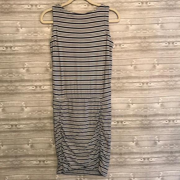 Athleta Dresses & Skirts - Athleta Blue/White Stripe Ruched Tulip Dress Sz XS